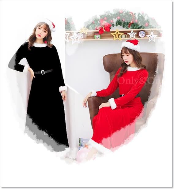 サンタコスプレのロングスカート丈の種類4ブラック